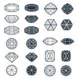 Комплект вектора элементов дизайна черного алмаза Стоковое Изображение