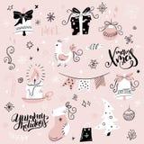 Комплект вектора элементов рождества и характеров нарисованных рукой декоративных - литерности подарка, носка, ели и руки Стоковое Изображение RF