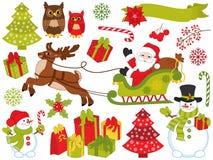 Комплект вектора элементов Санта Клауса и рождества праздничных Стоковые Фотографии RF