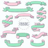 Комплект вектора элементов doodle лент декоративный Стоковые Фотографии RF