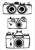 Комплект вектора 3 камер фото фильма год сбора винограда изолированных на белизне Стоковая Фотография