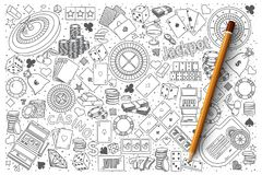Комплект вектора doodle казино Стоковое Фото
