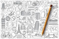 Комплект вектора doodle перемещения Стоковые Изображения RF