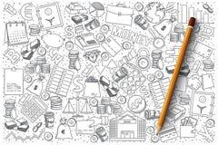 Комплект вектора doodle финансов иллюстрация вектора