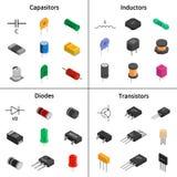 Комплект вектора izometric электронных блоков Конденсаторы, диод Стоковые Изображения RF
