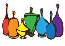 Комплект вектора multicolor бутылок изолированных на белизне Стоковые Фото