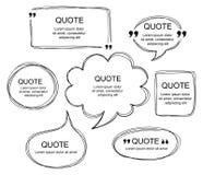 Комплект вектора scribbled шуточных пузырей речи Стоковые Изображения RF