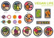 Комплект вектора Vegan Vegetable шаблон flyear, кассеты, плакаты, обложка книги, знамена Вегетарианская концепция приглашения Стоковые Фото