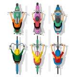 Комплект велосипедистов и мотоциклов шаржа Стоковая Фотография RF