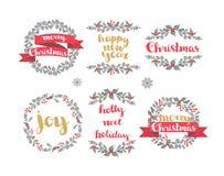 Комплект венков рождества зимы, элементов дизайна вектора Стоковые Изображения