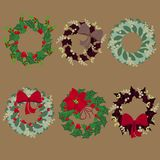 Комплект венков рождества иллюстрация вектора