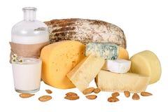Комплект вида differend сыра с бутылкой молока, стекла yo Стоковые Изображения