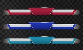 Комплект видео- названия заголовка или понижает третий шаблон Уникально дизайн знамени для видео иллюстрация штока
