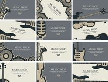 Комплект визитных карточек с музыкальными инструментами Стоковое Фото