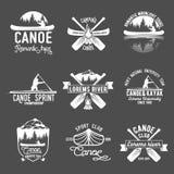 Комплект винтажного canoeing логотипа Стоковое Фото