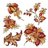 Комплект винтажных декоративных цветков с листьями стоковая фотография rf