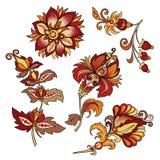 Комплект винтажных декоративных цветков с листьями стоковое фото rf