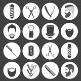 Комплект винтажных значков парикмахерской Стоковые Изображения