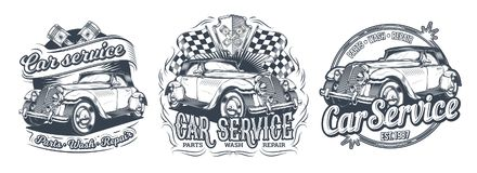 Комплект винтажных значков, стикеров, signage для обслуживания автомобиля, мытья, магазина частей с ретро автомобилем Стоковое Фото