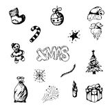 Комплект винтажных с Рождеством Христовым и счастливых элементов Нового Года Линия нарисованная рукой космос экземпляра ART иллюстрация штока