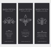Комплект винтажных шаблонов карточки в уникально богемском стиле с архаическими элементами Стоковые Изображения