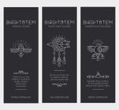 Комплект винтажных шаблонов карточки в уникально богемском стиле с архаическими элементами Стоковое Фото