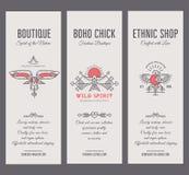 Комплект винтажных шаблонов карточки в уникально богемском стиле с архаическими элементами Стоковая Фотография RF