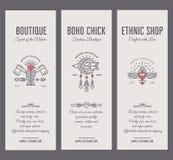 Комплект винтажных шаблонов карточки в уникально богемском стиле с архаическими элементами Стоковые Изображения RF