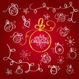 Комплект винтажных шариков рождества doodle эффектной демонстрации конструкция легкая редактирует элементы для того чтобы vector  бесплатная иллюстрация