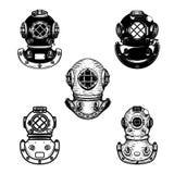 Комплект винтажных шлемов водолаза Конструируйте элемент для логотипа, ярлыка, эмблемы, знака иллюстрация штока