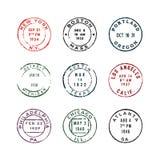 Комплект винтажных штемпелей почтового сбора также вектор иллюстрации притяжки corel иллюстрация штока