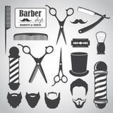Комплект винтажных элементов парикмахерской, значков, ярлыков Стоковые Фотографии RF