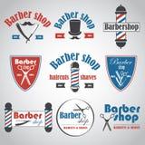 Комплект винтажных эмблем парикмахерской, ярлыка, значков и конструированных элементов Стоковые Фото