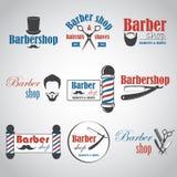 Комплект винтажных эмблем парикмахерской Стоковые Изображения RF