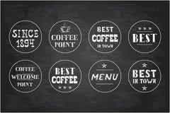 Комплект винтажных ярлыков кофе, нарисованная рука бесплатная иллюстрация