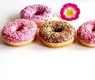 Комплект вкусных donuts на белой предпосылке Взгляд сверху Стоковое Изображение