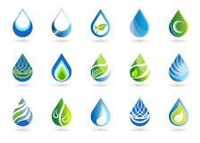 Комплект воды падает значок символа, логотип, дизайн вектора элементов падений природы бесплатная иллюстрация