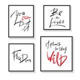 Комплект воодушевляет и мотивационные цитаты Нарисованные рукой красивые знаки каллиграфии Напечатайте для вдохновляющего плаката бесплатная иллюстрация