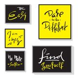 Комплект воодушевляет и мотивационные цитаты Нарисованные рукой красивые знаки каллиграфии Напечатайте для вдохновляющего плаката иллюстрация штока