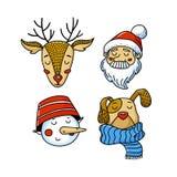 Комплект воплощений Xmas - оленей, Санты, снеговика, собаки бесплатная иллюстрация