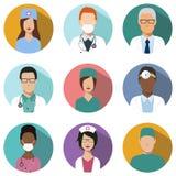 Комплект воплощения докторов и медсестер иконы медицинские Стоковое Изображение