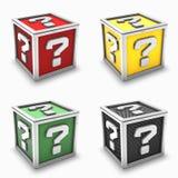 комплект вопросе о метки коробки Стоковые Изображения