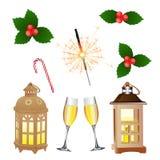 Комплект воцарения Новый Год Рождество также вектор иллюстрации притяжки corel иллюстрация штока