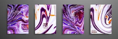 Комплект всеобщих карточек вектора Жидкостная мраморная текстура Красочный дизайн для приглашения, плаката, брошюры, плаката, зна иллюстрация штока