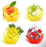 Комплект выплеска фруктового сока Виноградины, яблоко, персик бесплатная иллюстрация