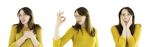 Комплект выражения стороны женщины В влюбленности, удивленный знак Okey, Стоковые Фото