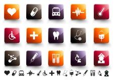 комплект высокой иконы лоска медицинский теплый Стоковые Изображения