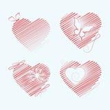 Комплект вышитых сердец с бабочкой, цветком, скручиваемостью вектор Стоковые Изображения