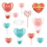 Комплект в форме сердц элементов и облака украшения Стоковые Фотографии RF