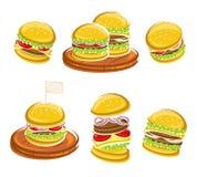 Комплект гамбургера вектор иллюстрация штока